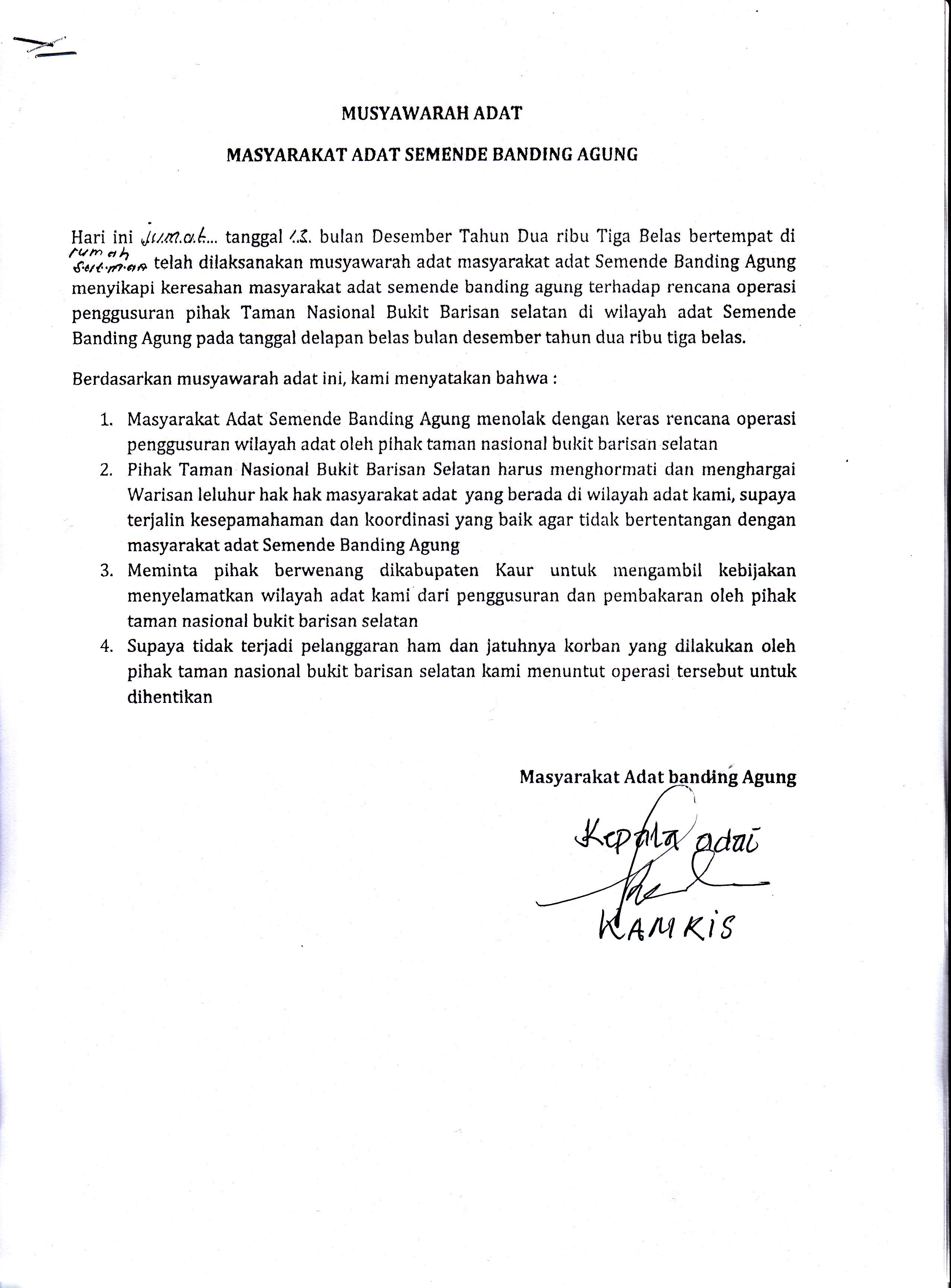 Musyawarah Adat Masyarakat Semende Banding Agung Sikapi Penggusuran oleh TNBBS