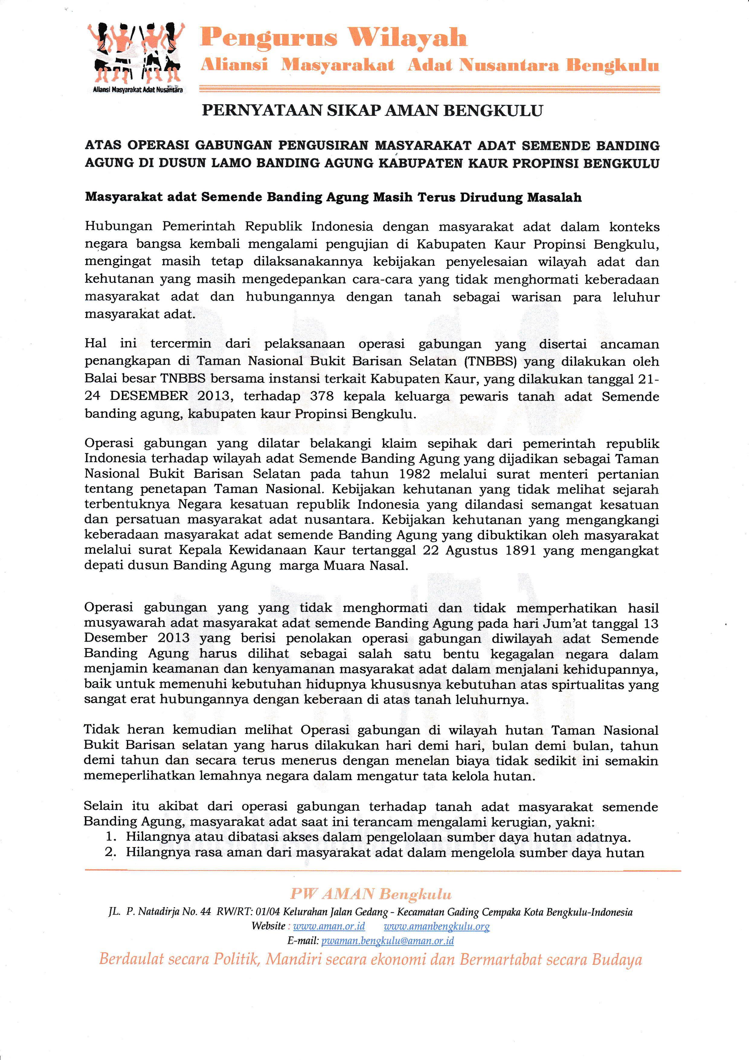 Pernyataan Sikap PW AMAN Bengkulu atas Pengusiran Masyarakat Adat Semende Banding Agung
