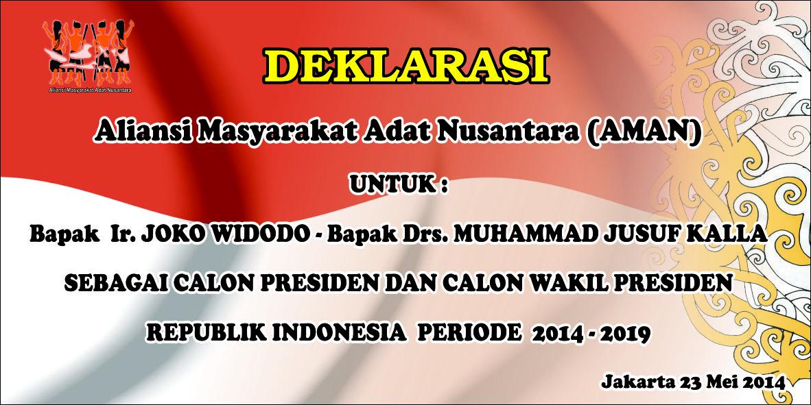 Aliansi Masyarakat Adat Deklarasikan Dukungan Kepada Jokowi-Jusuf Kalla