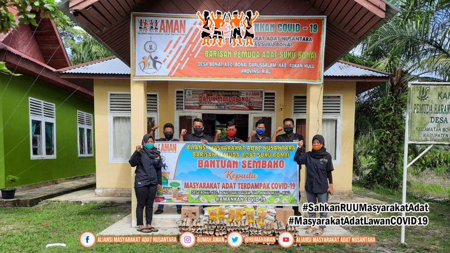 Barisan Pemuda Adat Suku Bonai Salurkan Bantuan Gugus Tugas AMANkanCOVID19