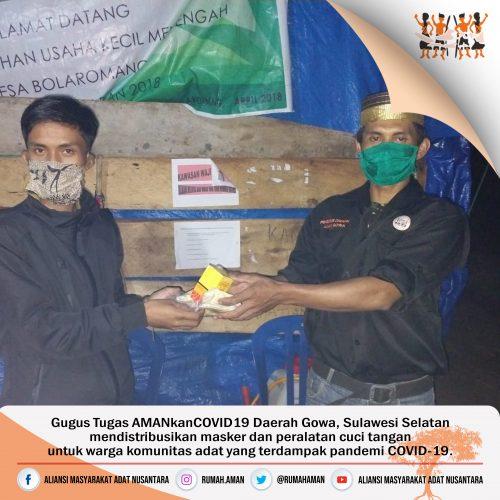 Gugus Tugas AMANkanCOVID19 Daerah Gowa Distribusikan Masker dan Alat Cuci Tangan