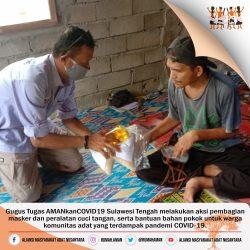 Gugus Tugas AMANkanCOVID19 Sulawesi Tengah Salurkan Bantuan Pangan dan Masker