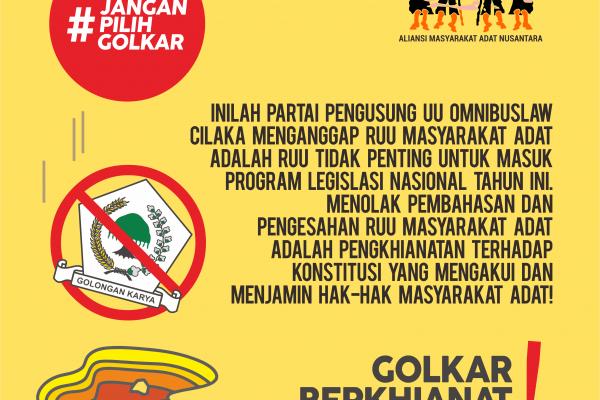 Pernyataan Sikap Aliansi Masyarakat Adat Terkait Penolakan Partai GOLKAR atas Pembahasan RUU Masyarakat Adat